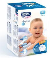 """Подгузники одноразовые для детей """"Aura. Baby"""", 4/L 7-14 кг, 12 штук"""