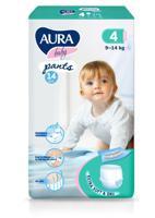 """Трусики одноразовые для детей """"Aura. Baby"""", 4/L 9-14 кг, 14 штук"""