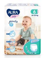"""Трусики одноразовые для детей """"Aura. Baby"""", 6/XXL 16-25 кг, 37 штук"""