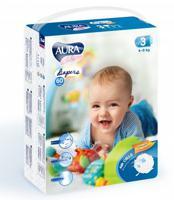 """Подгузники одноразовые для детей """"Aura. Baby"""", 3/M 4-9 кг, 60 штук"""