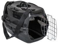 """Переноска для животных ZooM """"Спутник-2"""" (с металлической дверцей, наплечным ремнем и миской), цвет: черный, 33x49x32 см"""