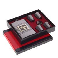 Подарочный набор из 6-ти предметов, цвет: серый, фляжка 250 мл, 4 стопки по 30 мл, воронка, 21x17x4 см