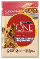 """Влажный корм для собак мелких пород Purina ONE Мини """"Чувствительное пищеварение"""" (с лососем, рисом и морковью в подливе), 85 г"""