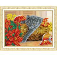 """Набор для вышивания бисером Паутинка """"Рождественский котик"""", 38x28 см (арт. Б1503)"""
