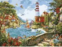 "Раскраска по номерам на картоне ""Маяк у моря "", формат А3"