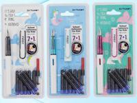 Перьевая ручка, 7 капсул с чернилами