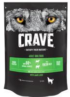"""Сухой беззерновой корм для взрослых собак """"Crave"""", с говядиной и ягненком, 1 кг"""