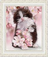 """Рисунок на ткани для вышивания бисером """"Весенний котенок"""", 20х25 см, арт. 1359"""