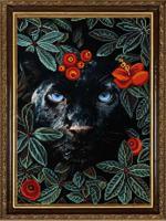 """Рисунок на ткани для вышивания бисером """"Природа и звери. Пантера"""", 29х39 см, арт. 1374"""