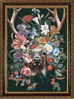"""Рисунок на ткани для вышивания бисером """"Природа и звери. Олень"""", 29х39 см, арт. 1377"""