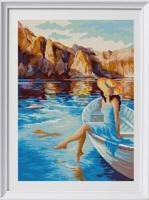 """Рисунок на ткани для вышивания бисером """"Горное озеро"""", 29х39 см, арт. 1372"""