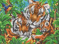 """Рисунок на ткани для вышивания бисером """"Тигры"""", 29х39 см, арт. 7810"""
