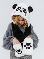 """Шапка """"Панда милая"""", цвет черный"""