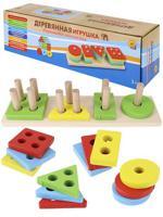 """Деревянная игрушка """"Пирамидка. Формы и счет"""", 23,5х7х5,5 см"""