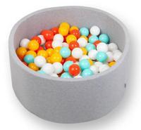 """Сухой игровой бассейн """"Мятно-оранжевый"""", высота 33 см, 200 шариков (белый, оранжевый, мятный, желтый)"""