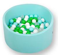 """Сухой игровой бассейн """"Лайт. Эко"""", мятный, высота 33 см, 200 шариков (мятный, зеленый, белый, прозрачный)"""