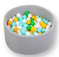 """Сухой игровой бассейн """"Лайт. Эко"""", серый, высота 33 см, 200 шариков (мятный, зеленый, белый, желтый)"""