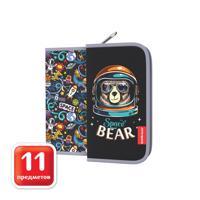 "Пенал-книжка ""Space Bear"", с наполнением, 110x205x25 мм"