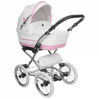 "Детская коляска 3 в 1 Tutek ""Turran Silver"", цвет: Eco White Pink"