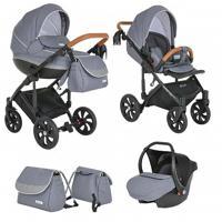 Детская коляска 3 в 1 Tutis Mimi Style, цвет: white dot, черная рама (автокресло, короб, прогулка)