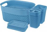"Набор для ванной комнаты ""OSLO mini"", 4 предмета, цвет: голубой"