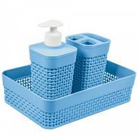 "Набор для ванной комнаты ""OSLO mini"", 3 предмета, цвет: голубой"