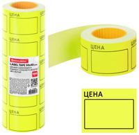 """Этикетки-ценники большие самоклеящиеся """"Цена"""", 50х40 мм, цвет желтый, 5 рулонов по 200 штук"""