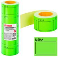 """Этикетки-ценники большие самоклеящиеся """"Цена"""", 50х40 мм, цвет зеленый, 5 рулонов по 200 штук"""
