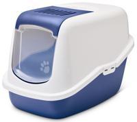 "Туалет для кошек Savic ""Nestor"", закрытый (цвет: белый/синий), 56х39х38,5 см"