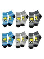 """Комплект носков для мальчика """"Кубок"""", цвет: серый, голубой, размер: 16-18, 6 пар"""