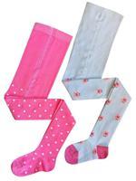 Комплект детских колготок, цвет: белый, розовый, рост: 104-110 см, 2 штуки