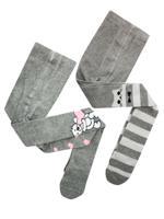 Комплект детских колготок, цвет: серый, серый меланж, рост: 104-110 см, 2 штуки