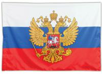 Флаг России, 90х135 см, с гербом
