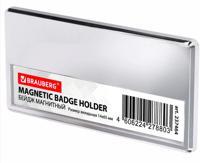 """Бейдж магнитный """"Brauberg"""", цвет серебристый, 34х70 мм, с окошком 14х65 мм"""