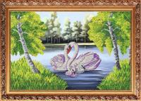 """Рисунок на ткани для вышивания бисером """"Лебединая семья"""", 31х44 см, арт. К-3519"""
