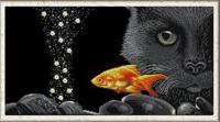 """Рисунок на ткани для вышивания бисером """"Кот и золотая рыбка"""", 25х45 см, арт. 1332"""