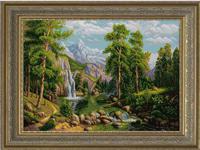 """Рисунок на ткани для вышивания бисером """"Горный водопа"""", 45х60см, арт. 1352"""