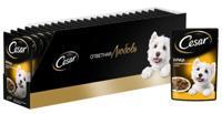 """Упаковка влажного корма для взрослых собак """"Cesar"""", курица с зелеными овощами в соусе (28 штук по 85 грамм) (количество товаров в комплекте: 28)"""