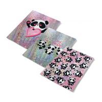 """Обложки для тетрадей с голографическим рисунком """"Панды"""", 3 штуки"""
