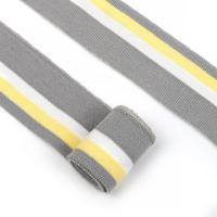 Подвяз трикотажный полиэстер, 3,5х80 см, цвет: серый с белой и желтой полосами, 5 штук, арт. TBY.73086
