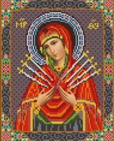 """Рисунок на ткани для вышивания бисером """"Богородица Семистрельная"""", 20х25 см, арт. 9211"""