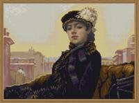 """Рисунок на ткани для вышивания бисером """"Незнакомка"""", 29х39 см, арт. 9766"""