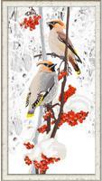 """Рисунок на ткани для вышивания бисером """"Свиристели"""", 25х45 см, арт. 9481"""