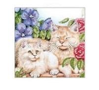 """Набор для вышивания бисером """"Коты в цветах"""""""