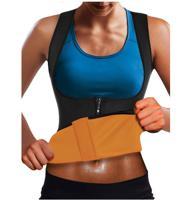Корсет для похудения CleverCare, черный с оранжевым, размер M