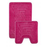 """Набор ковриков для ванной """"Shahintex РР"""", 2 штуки, 50x80 см, 50x50 см, цвет: розовый 64 (арт. 9279-3 графика)"""