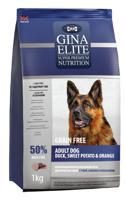 """Сухой беззерновой корм для взрослых собак Gina Elite """"Grain Free Adult Dog"""" (с уткой, бататом и апельсином), 1 кг"""