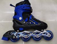 Ролики раздвижные, цвет: черно-синий, размер S (29-33)