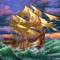 """Холст с красками """"Корабль и шторм"""" (13 цветов)"""