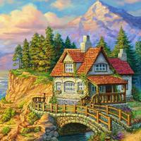 """Холст с красками """"Уютный домик в лесу"""" (14 цветов)"""